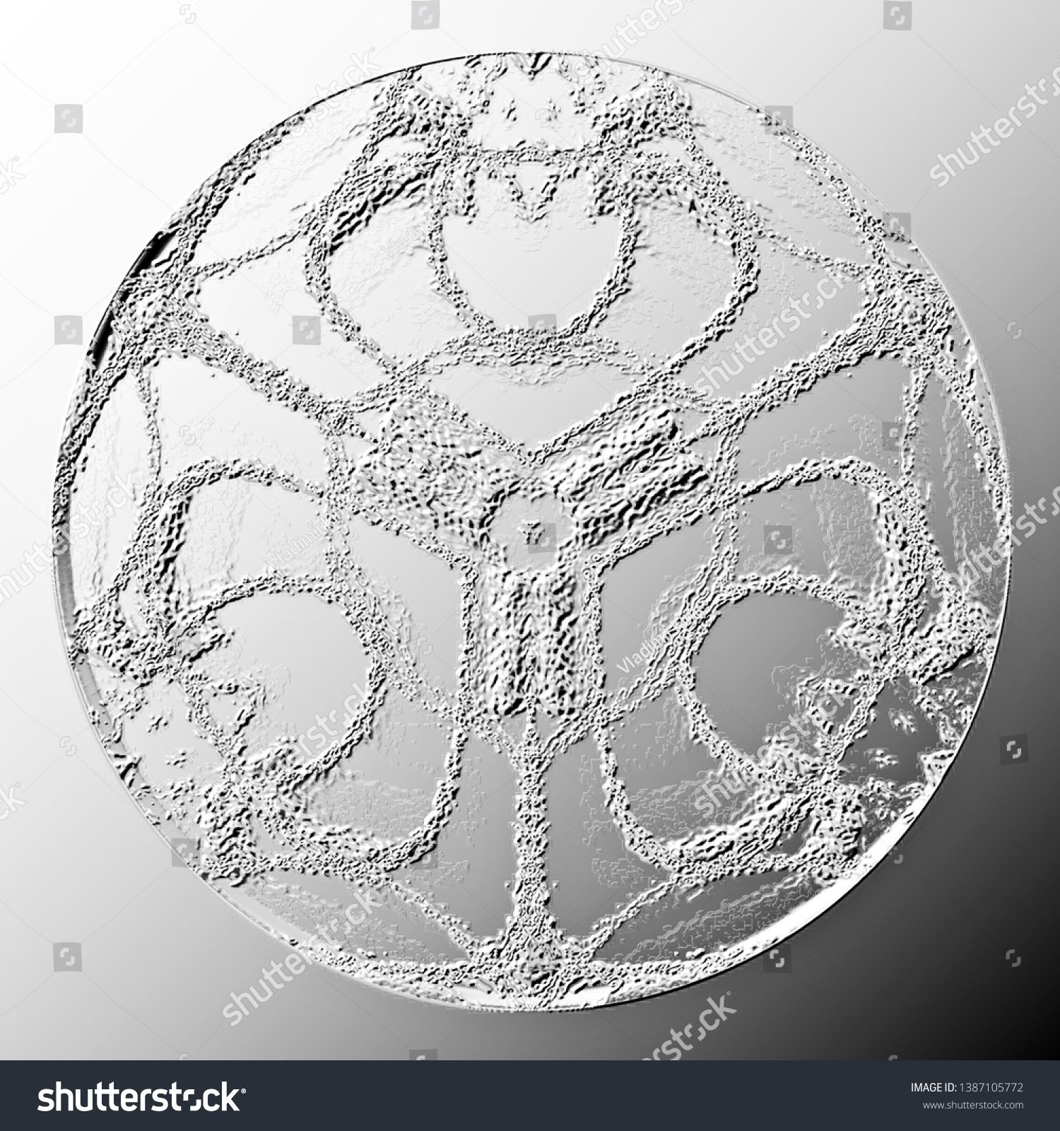 Black and white relief disc on gradient background