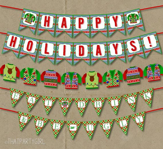 Ugly Sweater Party Decor, Ugly Sweater Party Banner, Ugly Christmas ...