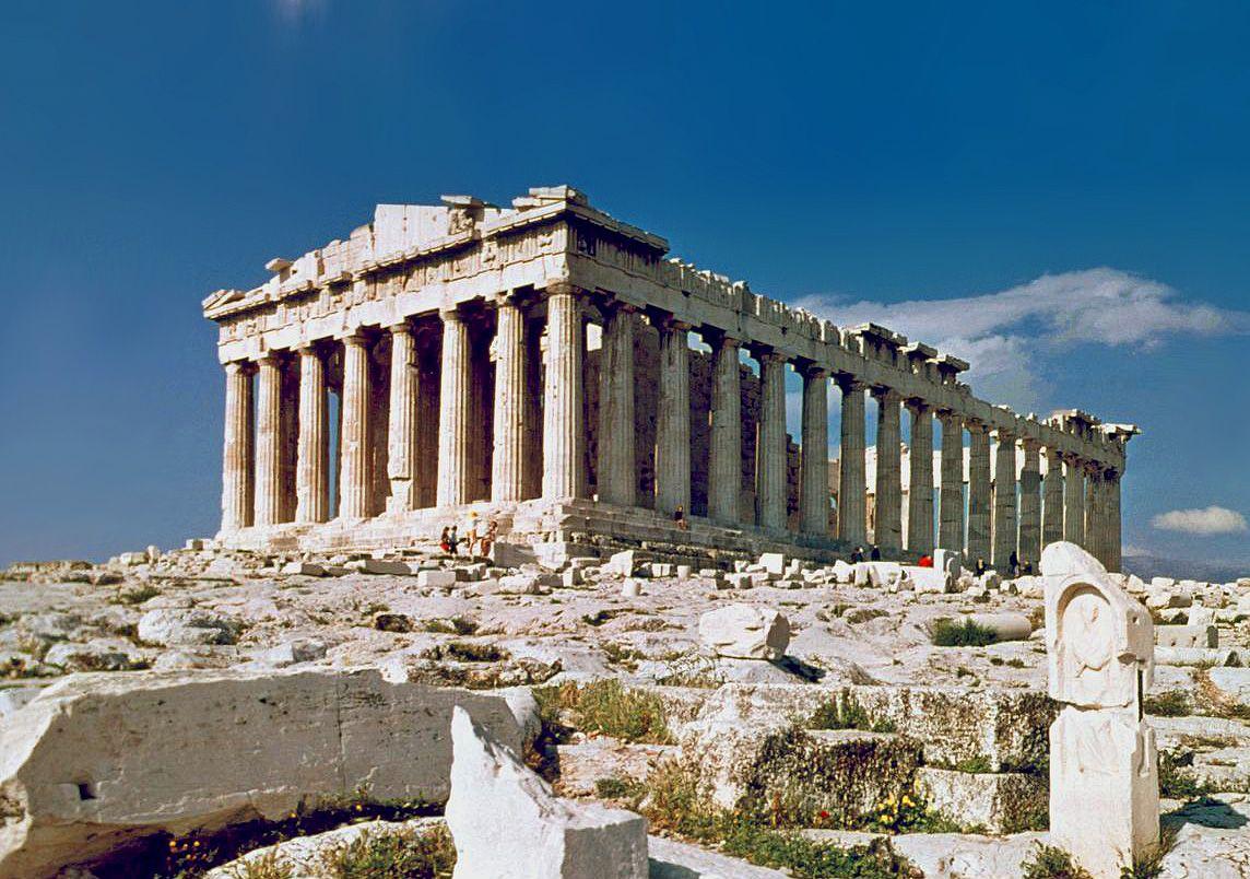 Templo Griego Partenón De Atenas Acropolis De Atenas Arquitectura Griega Antigua