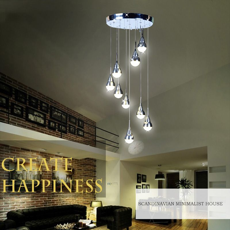 Led 9 Lampes Lustre Suspension Moderne Simple Acrylique Pour