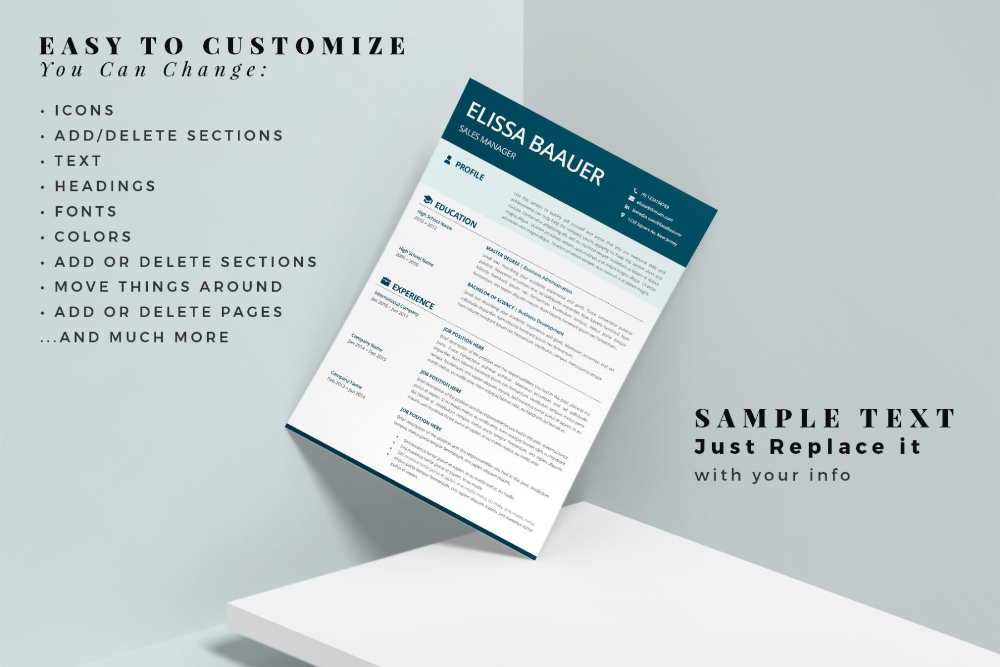 Professional Resume Cv Biodata Template For Ms Word Or Pages Graphicfy In 2021 Modern Resume Template Resume Template Cv Template Word
