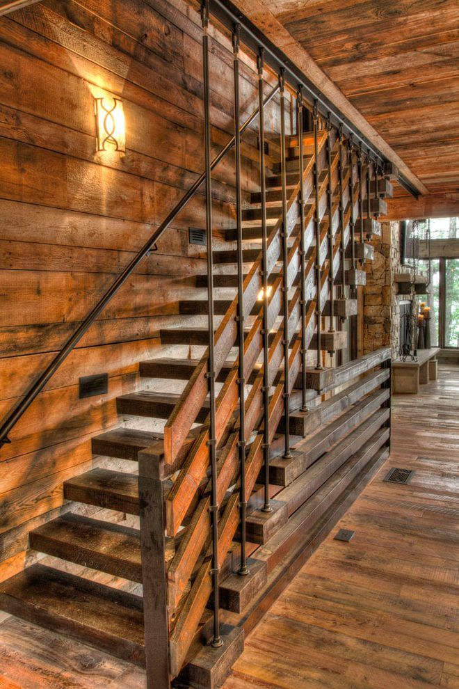 Best Cabin Stairs Staircase Rustic With Oak Engineered Wood 400 x 300