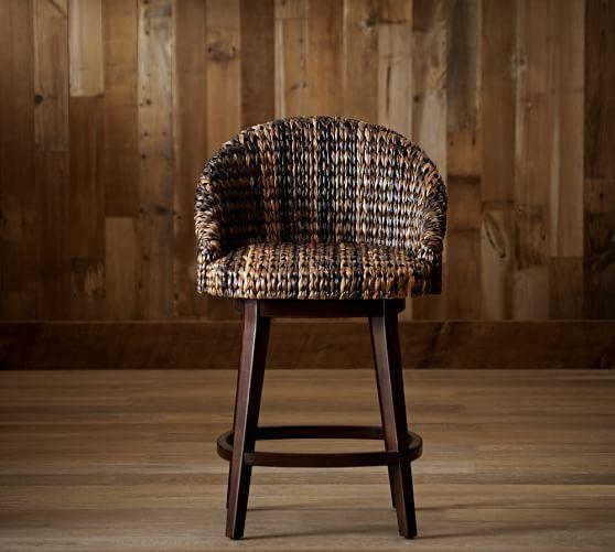 Enjoyable Seagrass Bucket Swivel Barstool Counter Height Havana Dark Machost Co Dining Chair Design Ideas Machostcouk