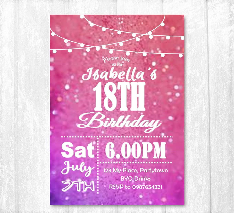 18th Birthday Invitation Female Party Invite Printed Invitation Twinkle Lights Invite By Thecr 21st Birthday Invitations Printable Invitations 18th Birthday