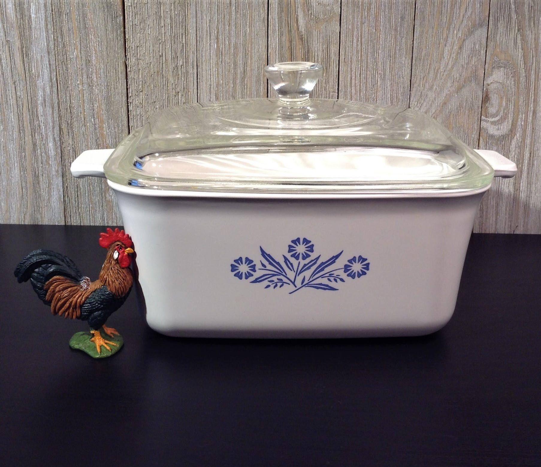Corning Ware Deep Loaf Pan W Lid Blue Cornflower 1 1 2 Qt