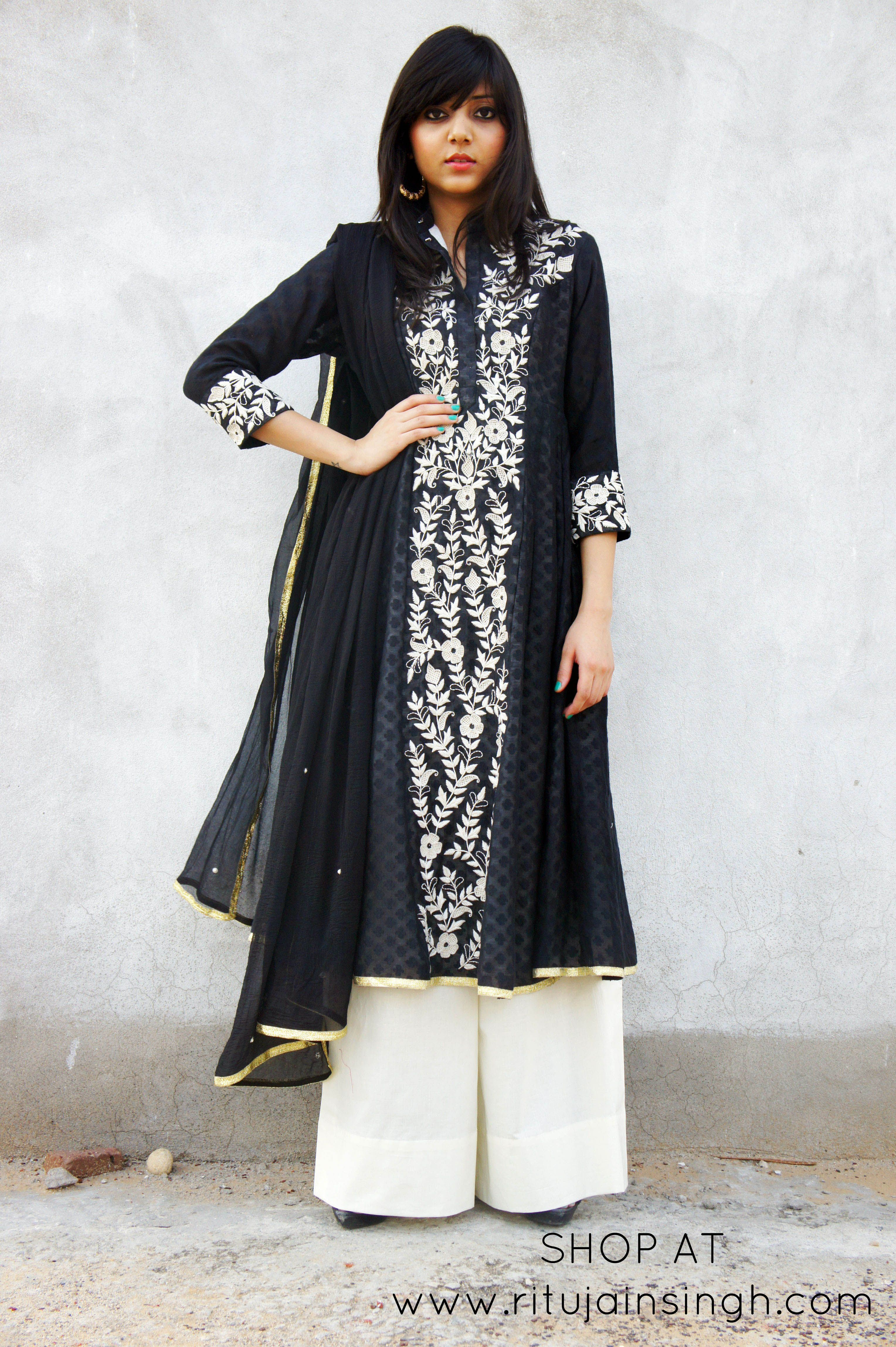 Black And White Contemporary Indian Wear Shop At