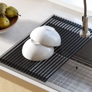 Multipurpose Black Over Sink Roll-Up Dish Drying Rack