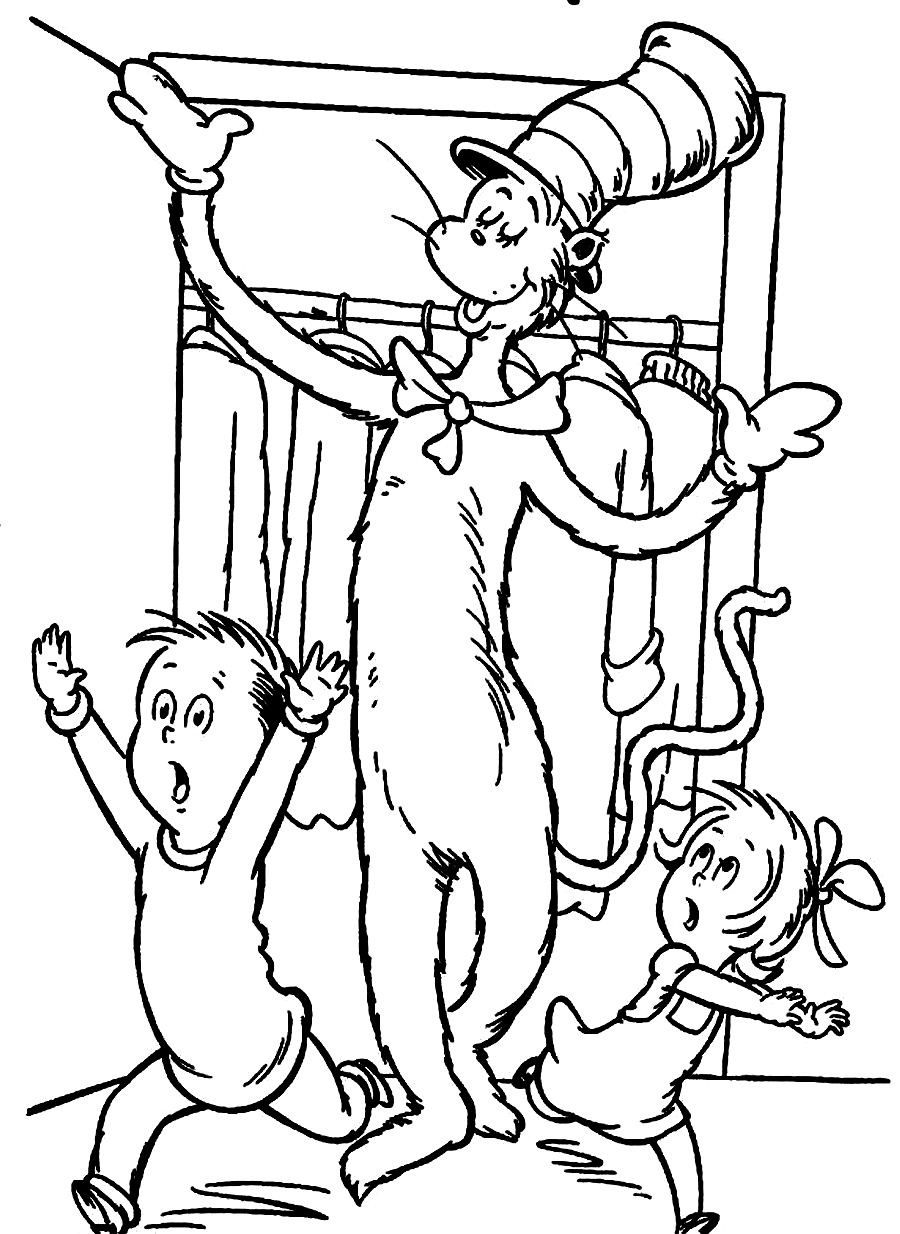 Download Dr Seuss The Cat In The Hat Makes Sally And Her Brother Running Away Coloring Pages Or Coloring Pages Dr Seuss Coloring Sheet Dr Seuss Coloring Pages
