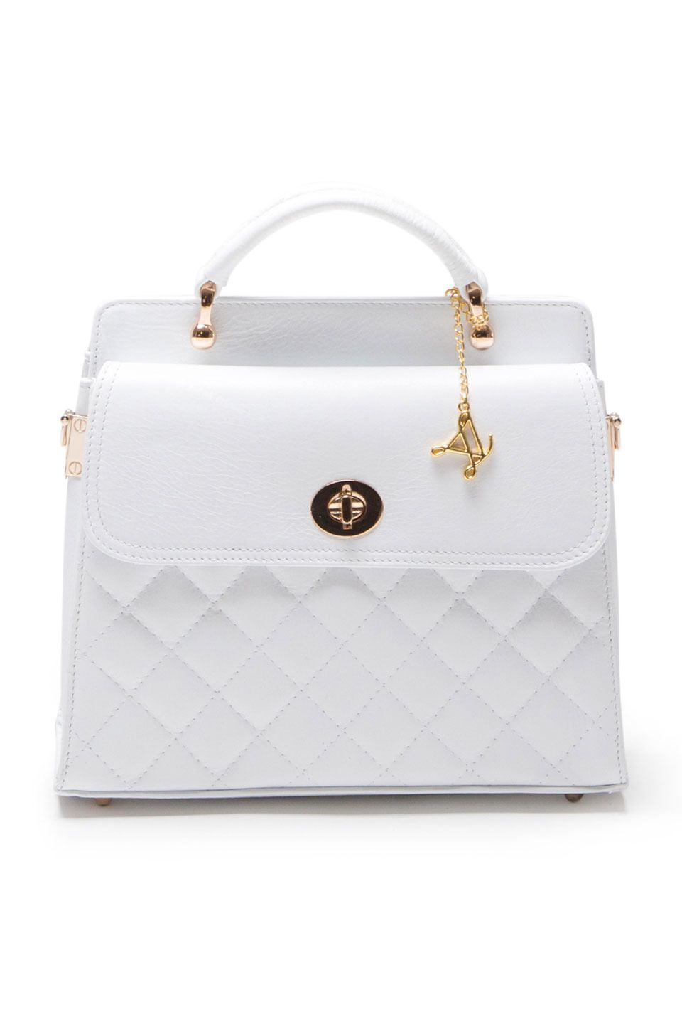 5d45ab0f54bd Luisa Vannini - Front Flap Shoulder Bag in White | TASKER OG PUNGE 2 ...