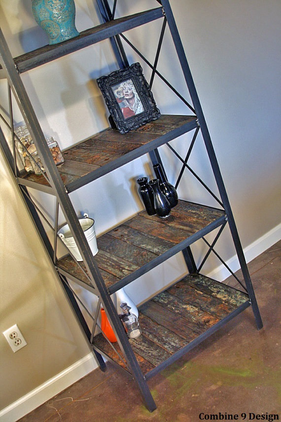 Rustic Bookcase Shelving Unit Steel Reclaimed Wood From An Tsunami