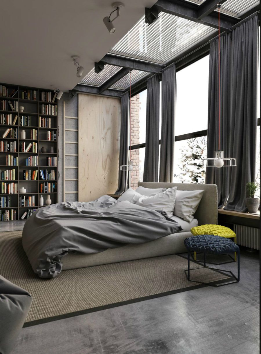 Modern Home Library Ideas For Bookworms And Butterflies Industrial Style Bedroom Industrial Bedroom Design
