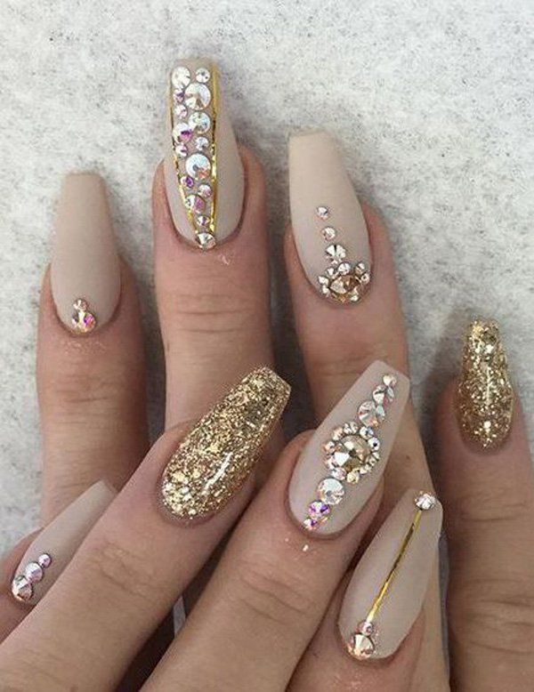 50 Rhinestone Nail Art Ideas | Golden color, Rhinestone nails and Makeup
