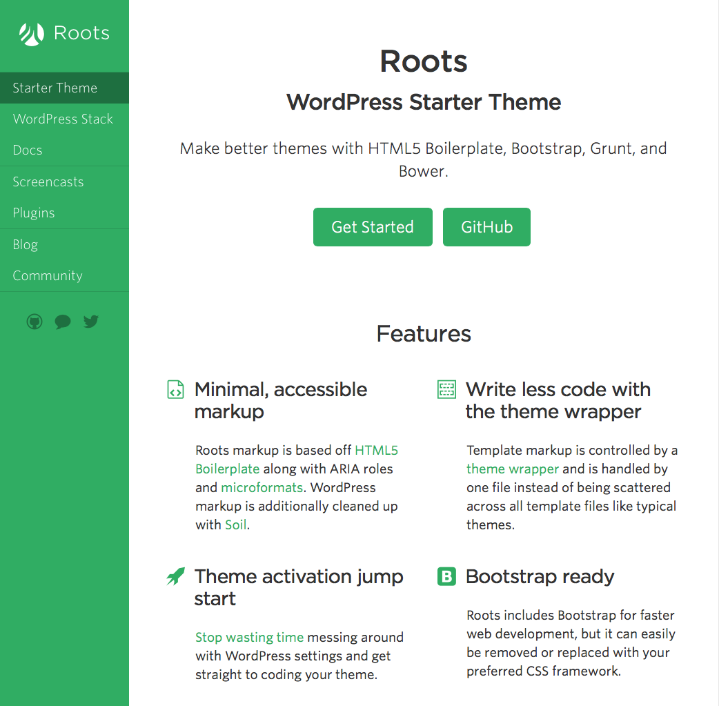 Roots is a WordPress starter theme based on HTML5 Boilerplate ...