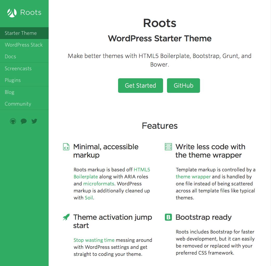 Roots Is A Wordpress Starter Theme Based On Html5 Boilerplate Bootstrap Modernize Your Wordpress Theme Development Theme Blog Community Cool Themes