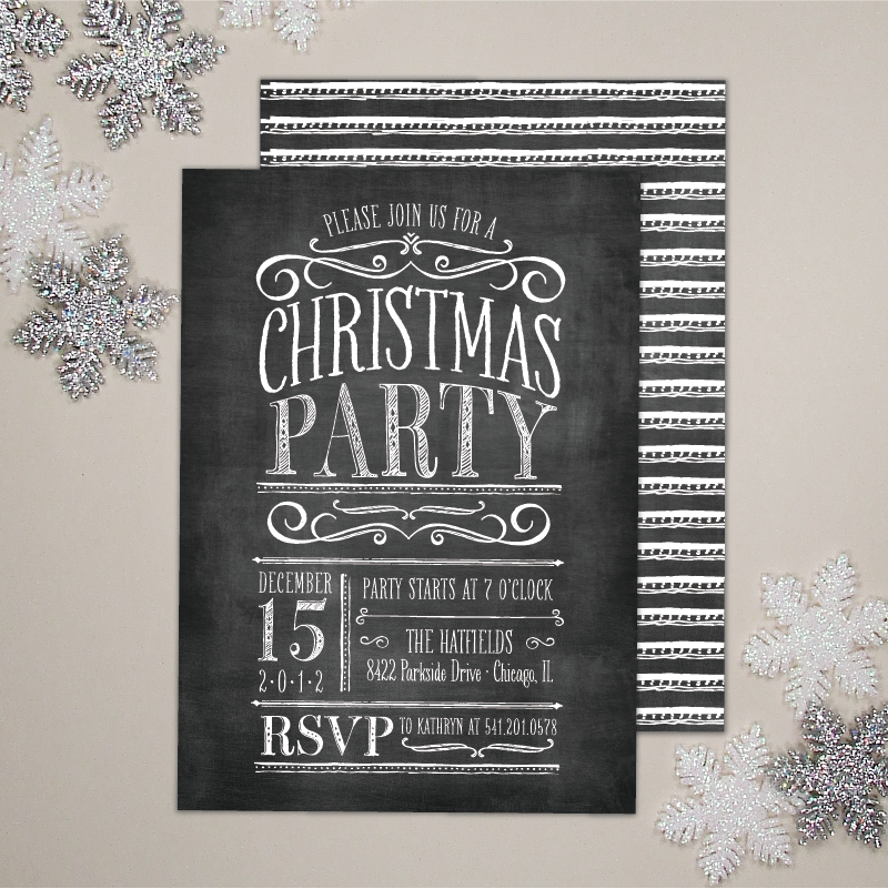 Chalkboard Lettering Holiday / Christmas Party Invitation
