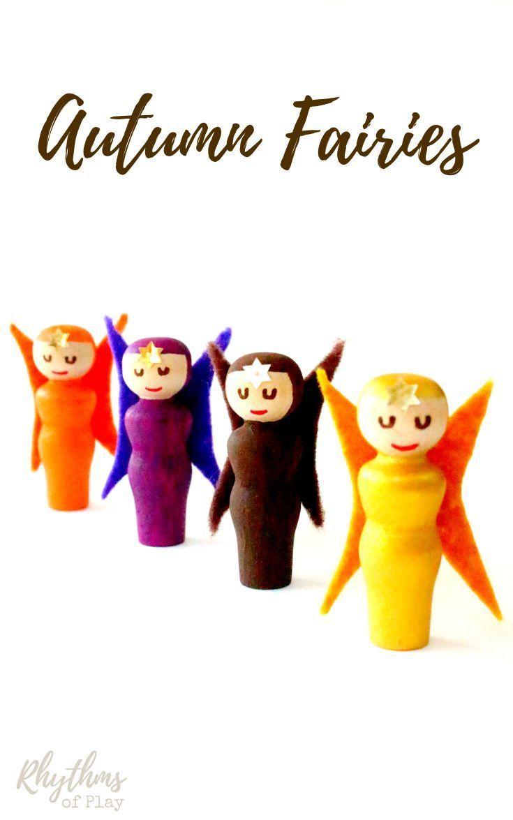 DIY Fall Peg Doll Fairies - These cute little handmade autumn fairies are really…