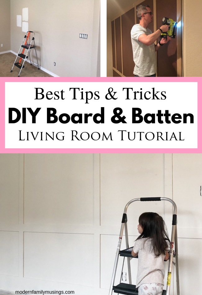 How To Do A DIY Board And Batten Wall. We did a paneled wall in our living room and it came out amazing! In this tutorial, we give you lots of great tips and tricks to give you confidence to do the same thing in your home too! #diy #homedecor #boardandbatten #accentwall  - Modern Family Musings #boardandbattenwall