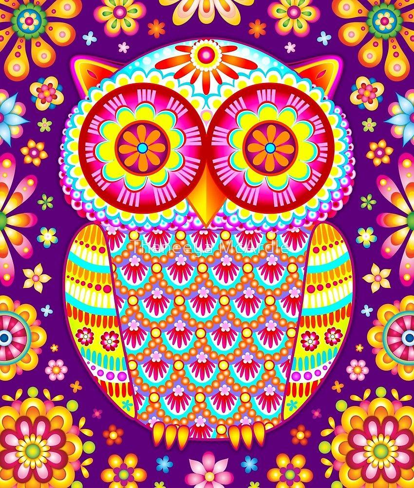 Colorful Owl Art By Thaneeya Mcardle Bunt Lustige Eulen Bunt