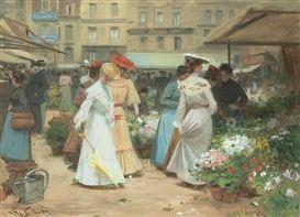 Artwork by Victor-Gabriel Gilbert, THE FLOWER MARKET