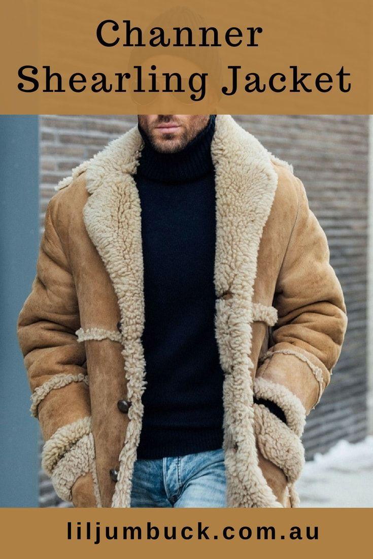 AKIMPE Mens Winter Sheepskin Jacket Warm Wool Lined Mountain Faux Lamb Jackets Coat