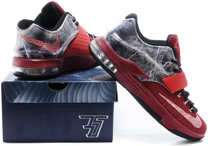 883614262f42 Nike KD 7 Struck By Lightning Red Custom Shoes0