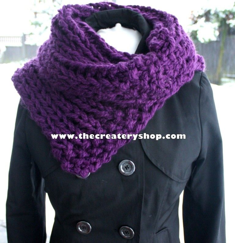 The Createry Shop Free Easy 3c Chunky Collar Cowl Knitting Pattern