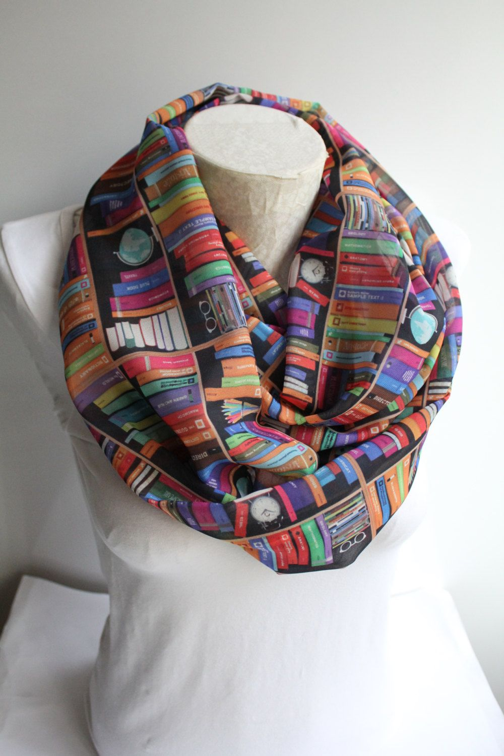 Book infinity scarf library birthday gift for her bookworms reader teacher nerd