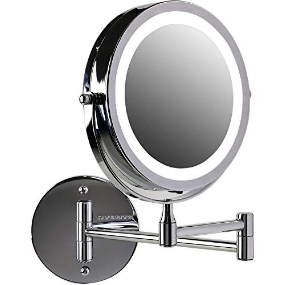 Ovente 7 In Polished Chrome Wall Mount Led Lighted Makeup Mirror With Magnification 1x And 10x Battery Operated Mfw70ch1x10x The Home Depot In 2020 Wall Mounted Makeup Mirror Makeup Mirror