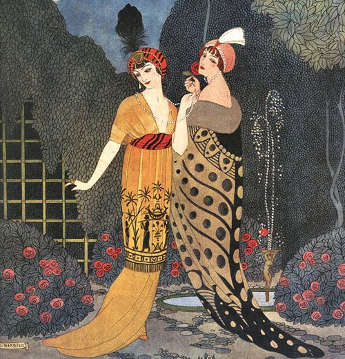 **Paul Poiret – Illustration by George Barbier, Les Modes, 1912:  Two evening ensembles inspired by the exotic forms and colors of Orientalism.  The tunic on the left is decorated with figures taken from Egyptian art and the bold abstract pattern of the coat on the right gives an Eastern feel. The turban complete that fee.  Set in Poiret's famous garden.