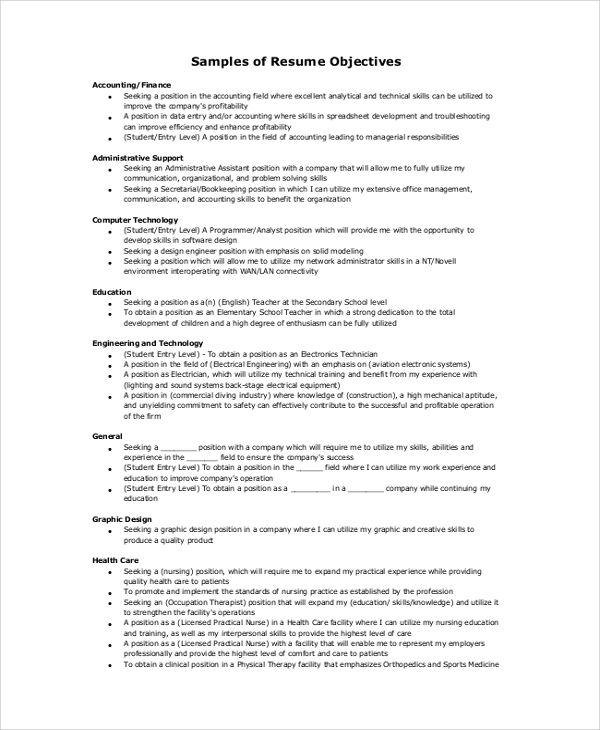 Sample Resume Objective Examples Pdf Word Statement
