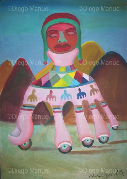 """""""Mano Coya """", acrylic on canvas, 29 x 42 cm. , 2006. By Diego Manuel"""
