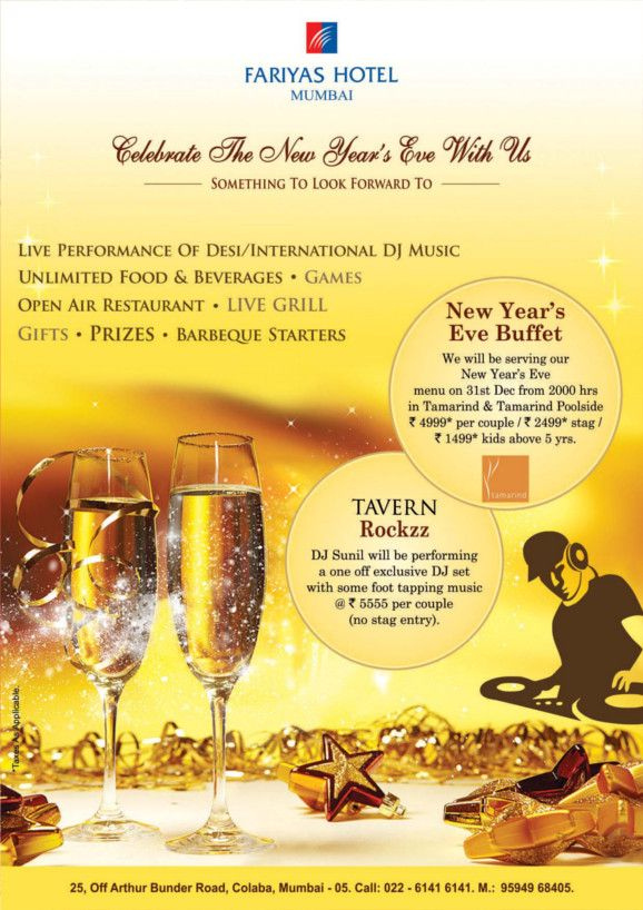 Special Offers Deals Packages Fariyas Resort Lonavala New Years Eve Menu Food New Years Activities