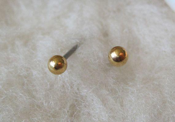 ff7a36b3c Niobium Stud Earrings Gold Ball Posts by prettysensitive on Etsy, $43.00