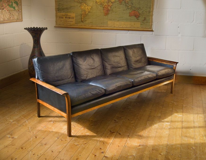Hans Olsen Rosewood Leather Sofa Danish Mid Century Modern