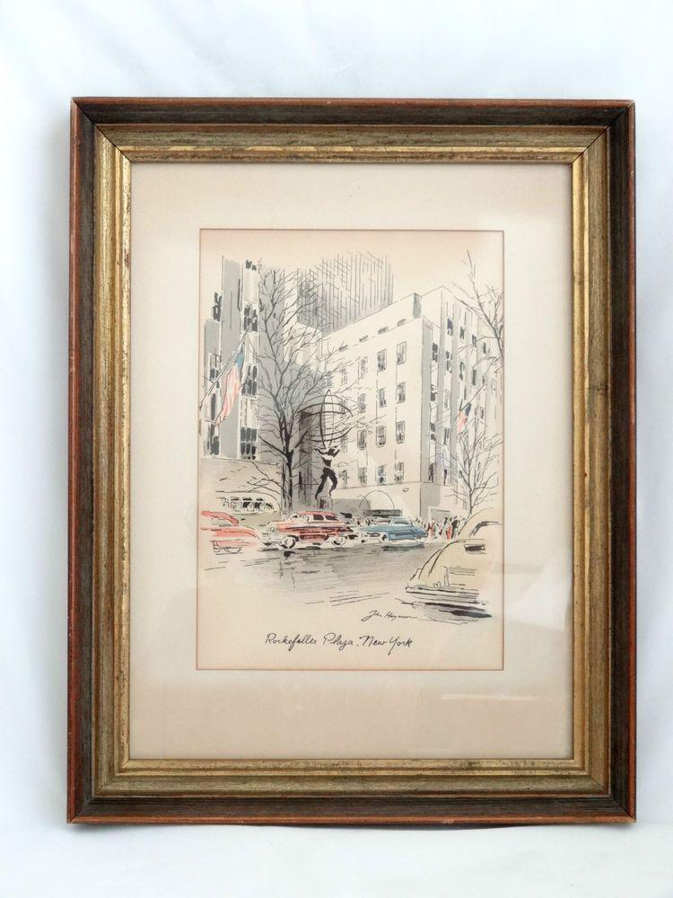 John Haymson Framed Watercolor Print Rockefeller Plaza Ny Watercolor Print Frame Watercolor