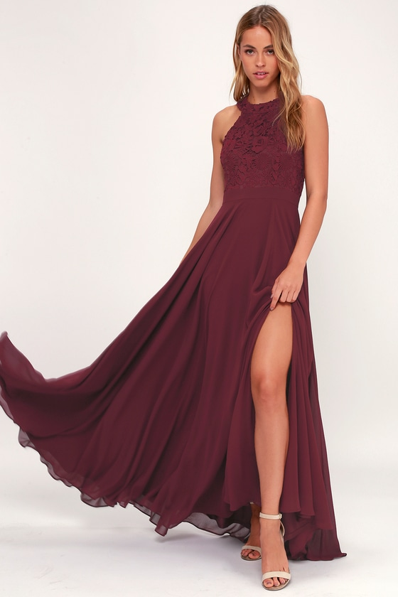 12bde23fe6c You ll be a vision of pure perfection in the Picture Perfect Burgundy Lace Maxi  Dress ! A stunning