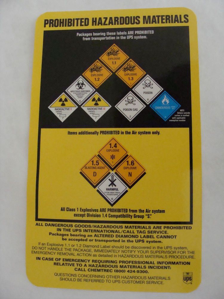 d2b88542b57 United Parcel Service UPS Prohibited Hazardous Materials Poster Pocket Size
