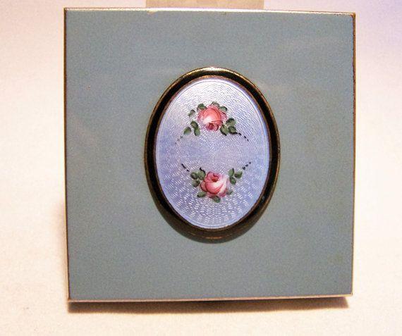 Volupte Guilloche Enamel Blue Flower Compact Silver Tone Square Vintage Make Up Accessory 1016DGZ