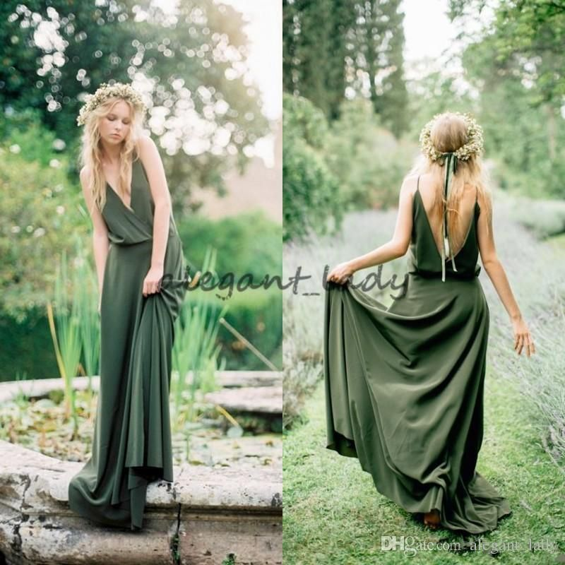 c71bc0bb64720 Bohemian Teal Olive Green Chiffon Country Bridesmaid Dresses 2018 New Cheap  Sexy Spaghetti Backless Long Maid Of Honor Gowns Custom Overskirt Evening  Dress ...