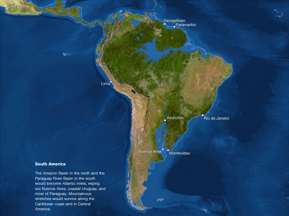 Map of sea level rise: South America | History in the making ... Sea Rising Map on moon seas map, red seas map, rising sea levels, surging seas map, high seas map,