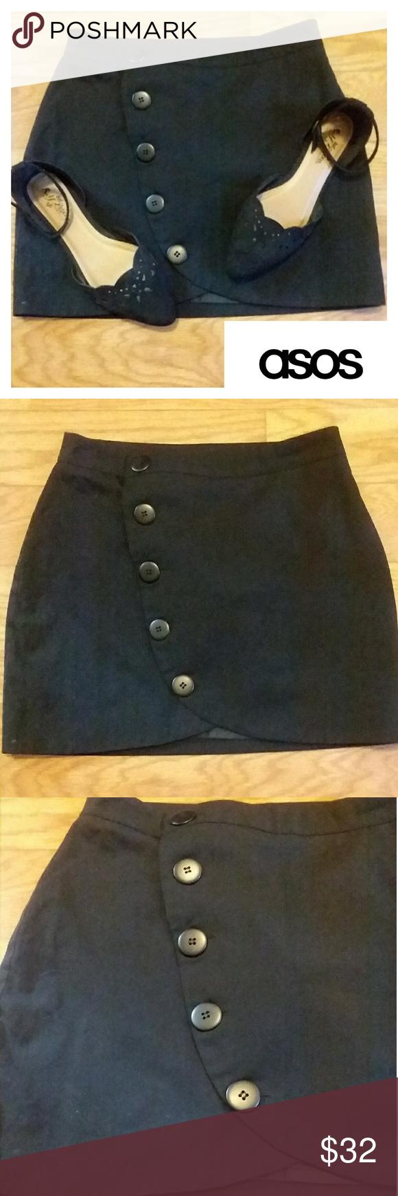 Button Down Asymmetrical Skirt ASOS EUC Asymmetrical