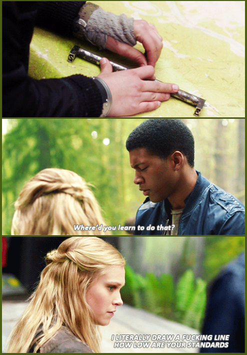 Clarke gets real by clarkebell on tumblr || The 100 || Clarke Griffin and Wells Jaha || Eliza Jane Taylor and Eli Goree