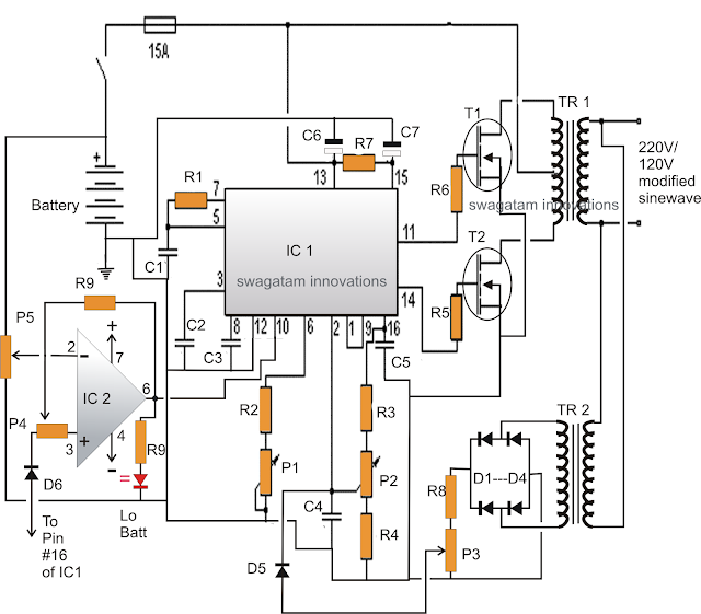 SG3525 inverter with output correction control Circuit