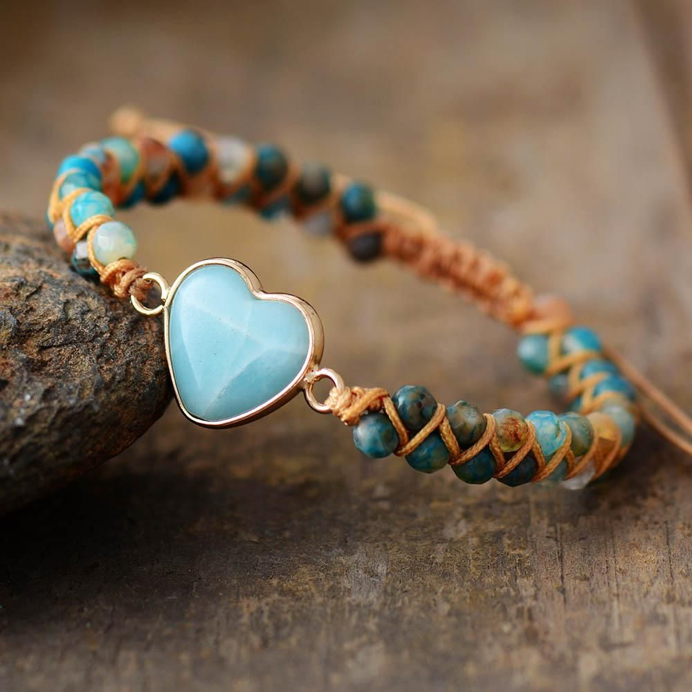 Amazonite Gemstone Bracelet with Heart Charm