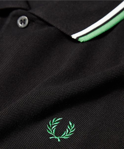 Fred Perry Classic Fit Twin Tipped Polo Shirt- BLACK   SNOW WHITE   ISLAND  GREEN d96abcbfe0aa1