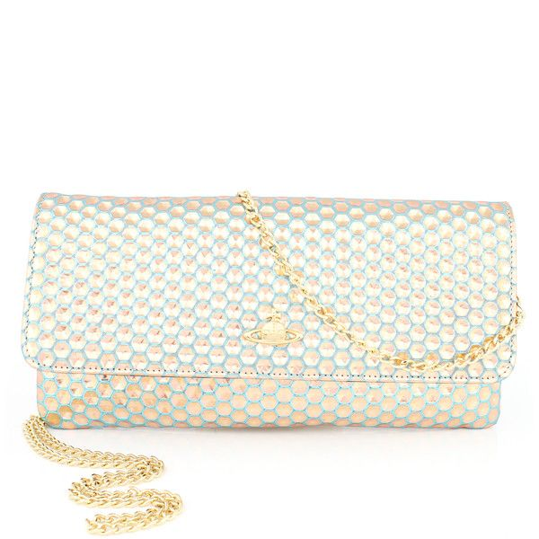 cc83f2b680 Vivienne Westwood Honeycomb 6052 Pochette (£150) ❤ liked on Polyvore  featuring bags, handbags, clutches, gold purse, white purse, gold metallic  purse, ...