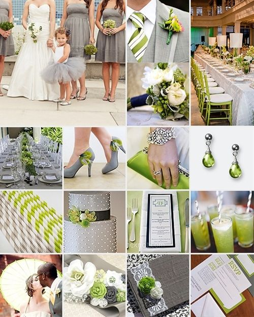 Lime Green and Grey Weddings - Click image to find more Weddings Pinterest pins