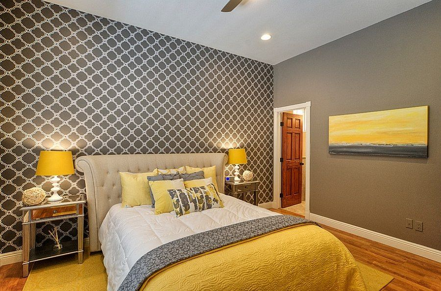 bedroom bedroom design with mirrored nightstands also ceiling light and wood flooring with yellow rug also bedside table and yellow table lamp cheerful - Yellow Bedroom Design
