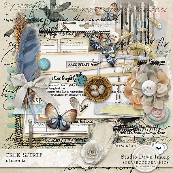 Free Spirit Elements From Studio Dawn Inskip At Scrapbookgraphics
