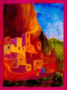 """Beautiful Acrylic sells for $1,100.00 by Taos Artist Carolene.Gallery wrapped painted. Her love for folk art,passion for landscape and the culture of New Mexico reflected in color and light here in the beautiful Sangre de Cristos. Love of the adobe and play of light on the structures is prevalent. Skies burst in blues. This is New Mexico. Unique understanding of Culture and Women and History prevail.Three native women return in spirit to their earthly home."""" buy it now at www.taostaos.com"""